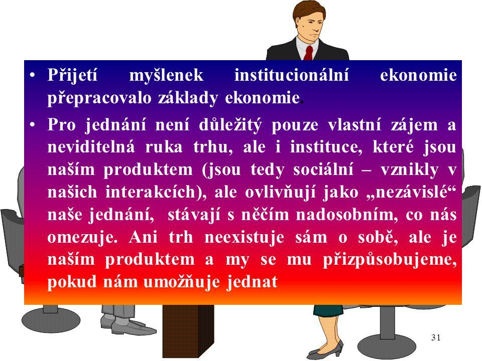 Přijetí myšlenek institucionální ekonomie přepracovalo základy ekonomie.