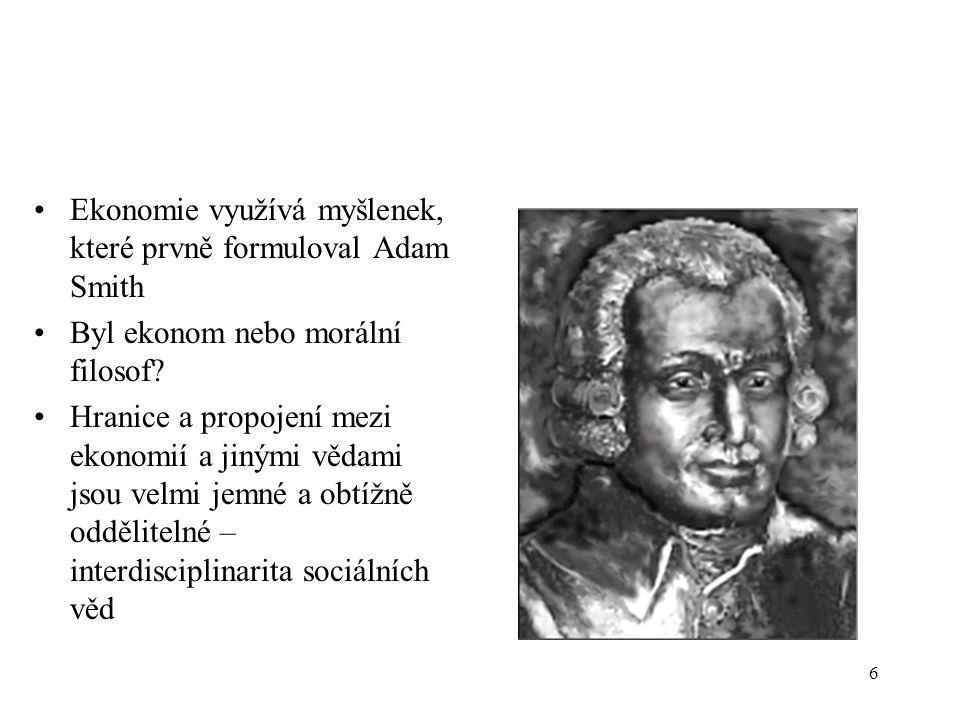 Ekonomie využívá myšlenek, které prvně formuloval Adam Smith