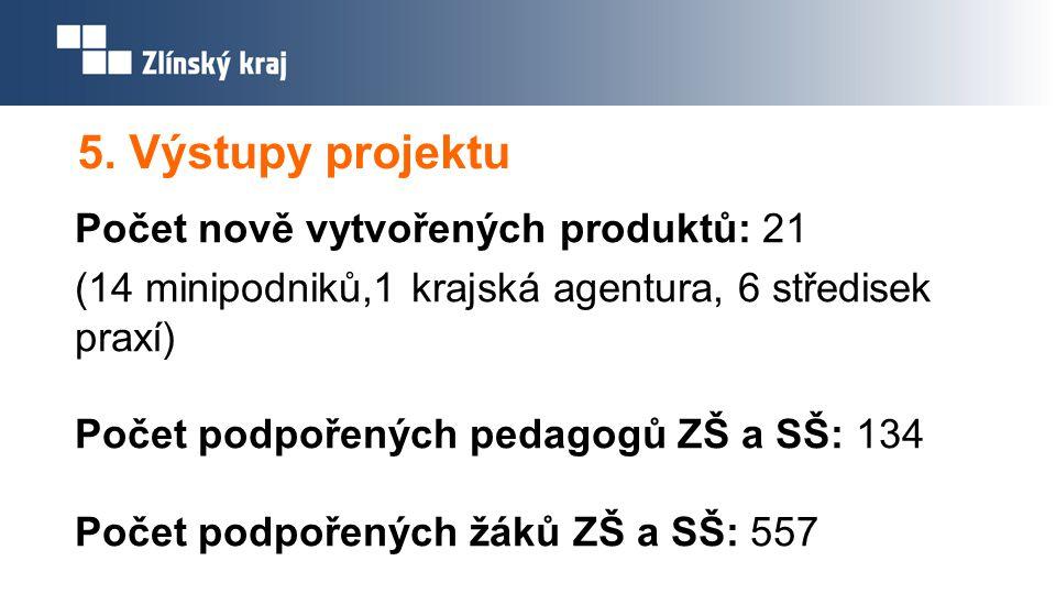 5. Výstupy projektu Počet nově vytvořených produktů: 21