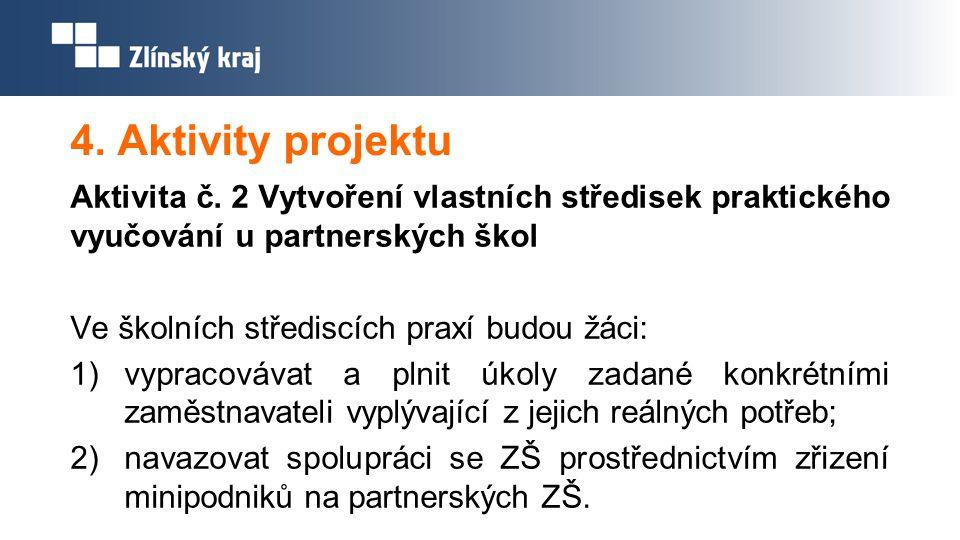 4. Aktivity projektu Aktivita č. 2 Vytvoření vlastních středisek praktického vyučování u partnerských škol.