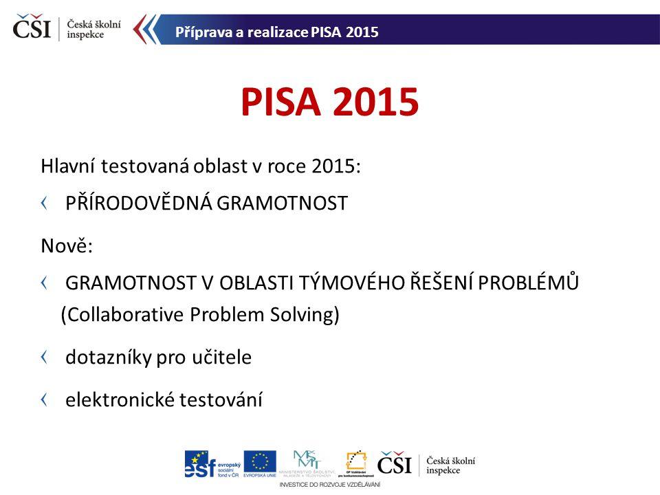 PISA 2015 Hlavní testovaná oblast v roce 2015: přírodovědná gramotnost