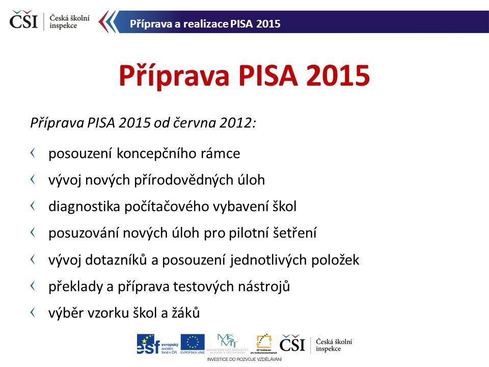 Příprava PISA 2015 Příprava PISA 2015 od června 2012: