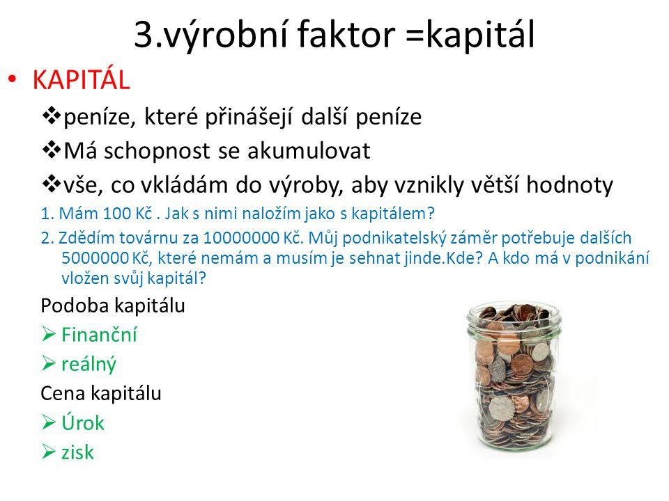 3.výrobní faktor =kapitál
