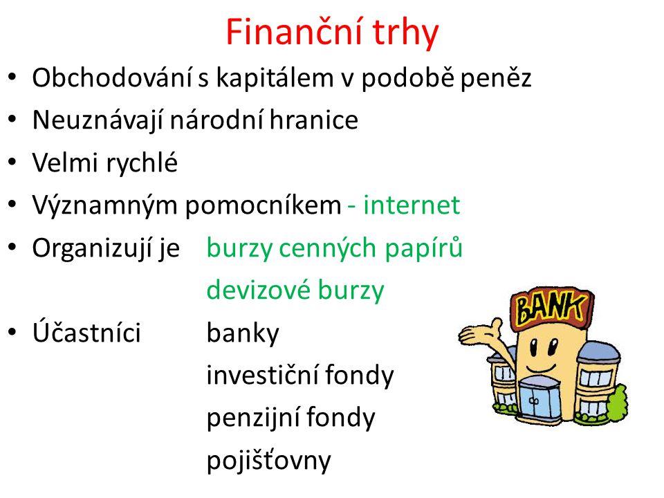 Finanční trhy Obchodování s kapitálem v podobě peněz