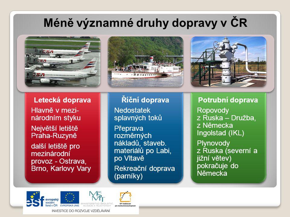 Méně významné druhy dopravy v ČR