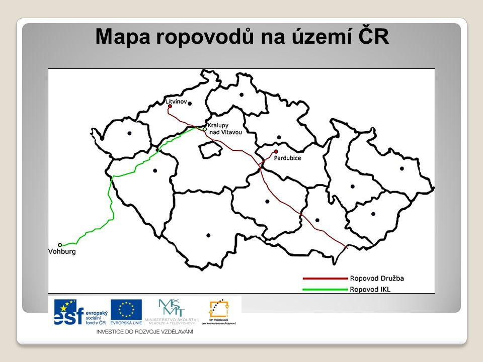 Mapa ropovodů na území ČR