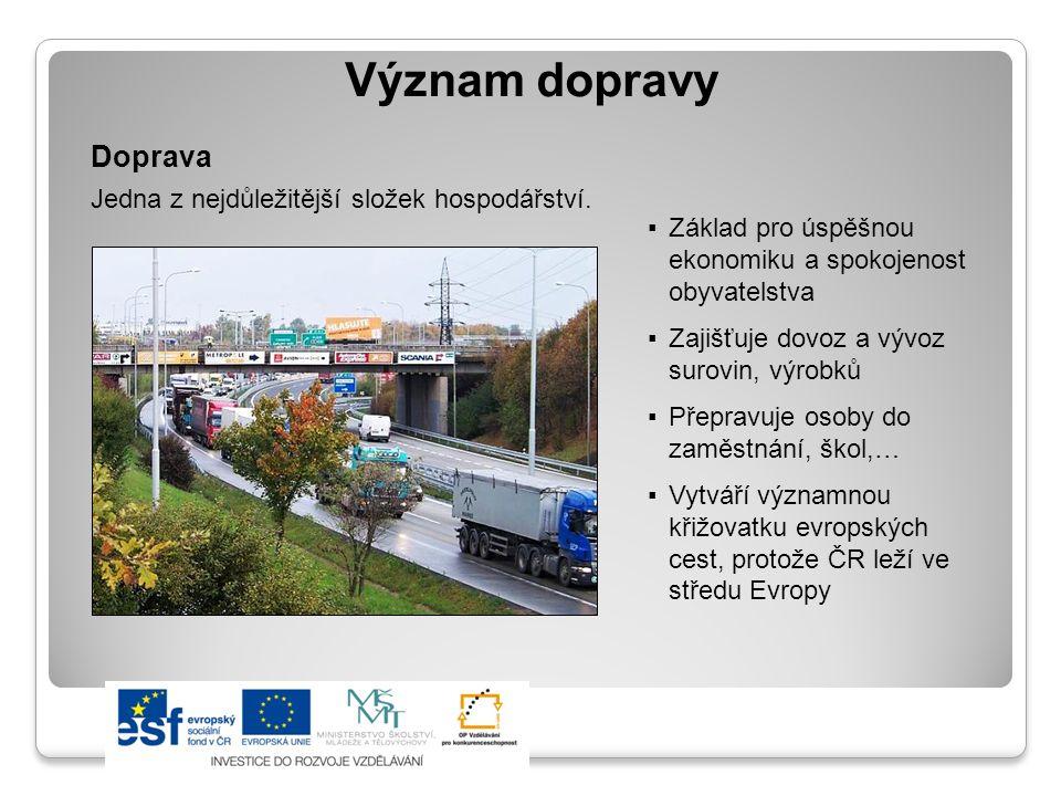 Význam dopravy Doprava Jedna z nejdůležitější složek hospodářství.