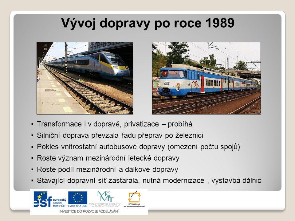 Vývoj dopravy po roce 1989 Transformace i v dopravě, privatizace – probíhá. Silniční doprava převzala řadu přeprav po železnici.