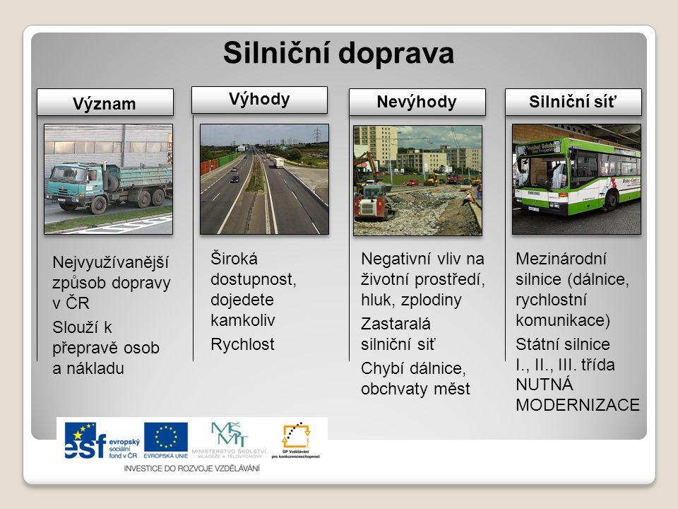 Silniční doprava Význam Výhody Nevýhody Silniční síť