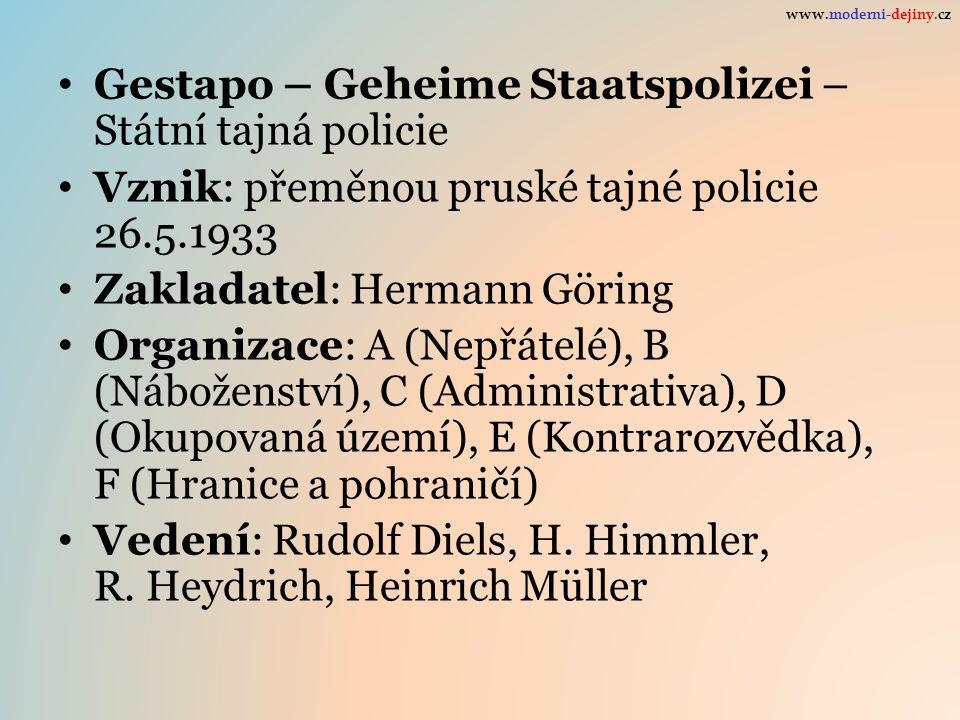 Gestapo – Geheime Staatspolizei – Státní tajná policie