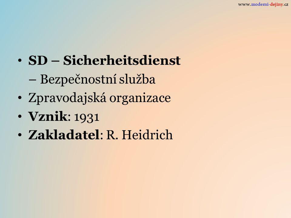 SD – Sicherheitsdienst – Bezpečnostní služba Zpravodajská organizace