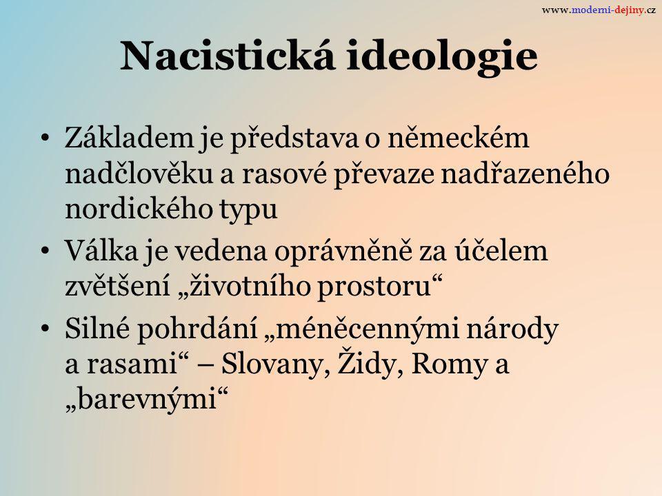 www.moderni-dejiny.cz Nacistická ideologie. Základem je představa o německém nadčlověku a rasové převaze nadřazeného nordického typu.