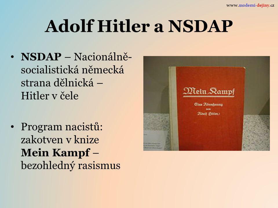 www.moderni-dejiny.cz Adolf Hitler a NSDAP. NSDAP – Nacionálně-socialistická německá strana dělnická – Hitler v čele.