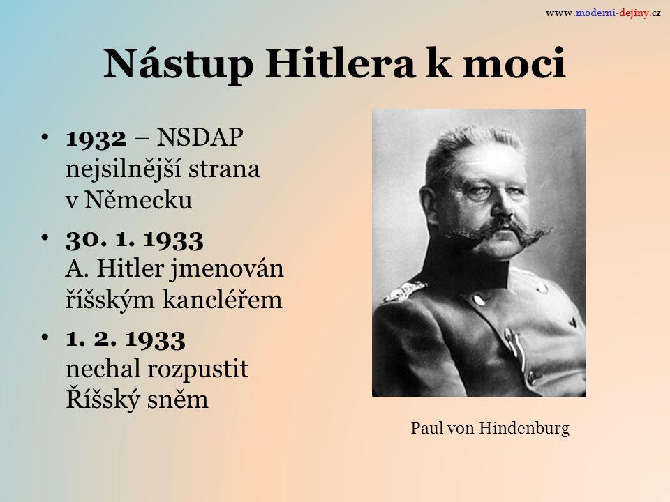 Nástup Hitlera k moci 1932 – NSDAP nejsilnější strana v Německu