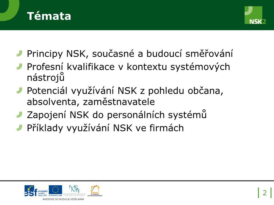 Témata Principy NSK, současné a budoucí směřování