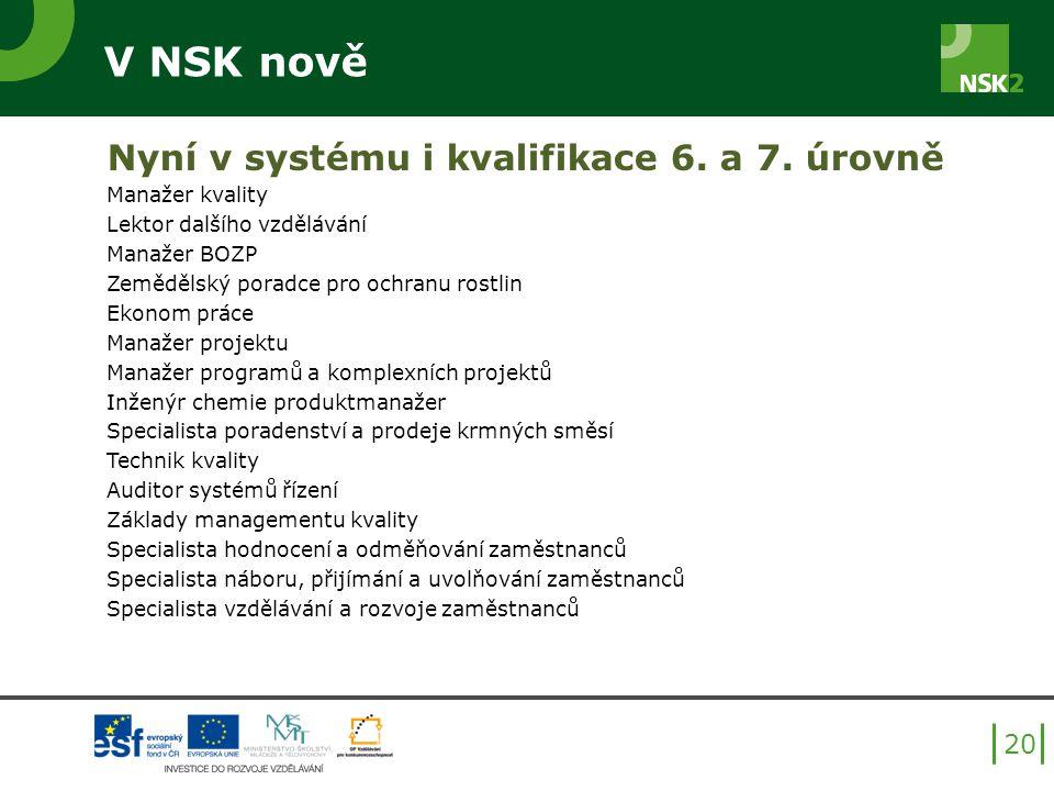 V NSK nově Nyní v systému i kvalifikace 6. a 7. úrovně Manažer kvality