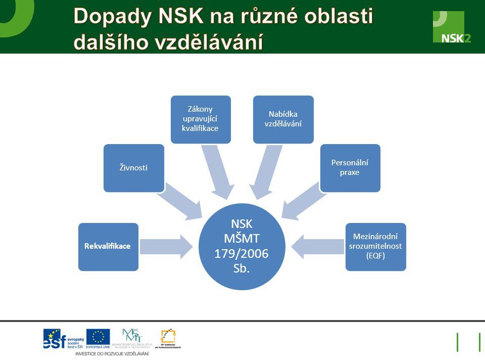 Dopady NSK na různé oblasti dalšího vzdělávání