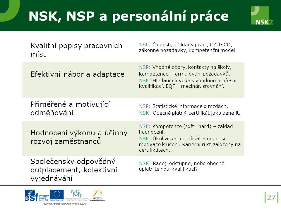 NSK, NSP a personální práce