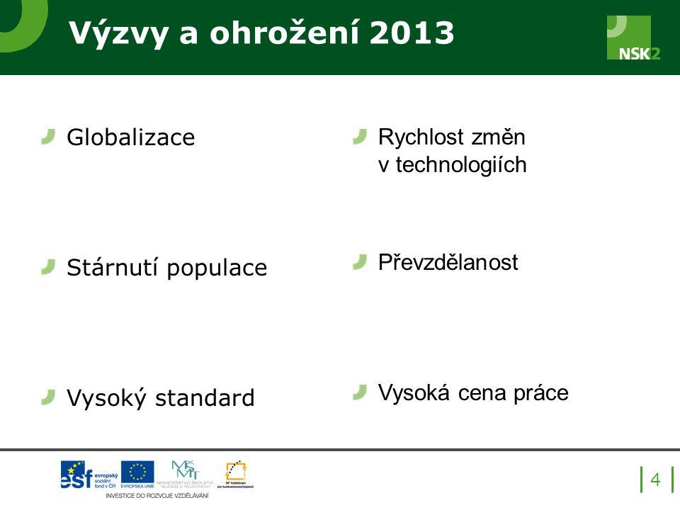 Výzvy a ohrožení 2013 Globalizace Stárnutí populace Vysoký standard