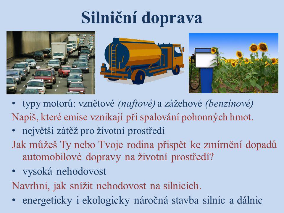 Silniční doprava typy motorů: vznětové (naftové) a zážehové (benzínové) Napiš, které emise vznikají při spalování pohonných hmot.