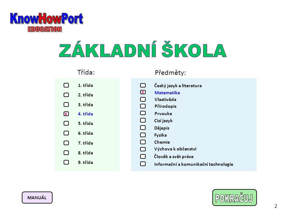 KnowHowPort How EDUCATION POKRAČUJ ZÁKLADNÍ ŠKOLA Třída: Předměty: 2