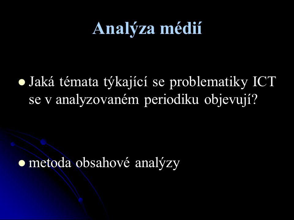 Analýza médií Jaká témata týkající se problematiky ICT se v analyzovaném periodiku objevují.