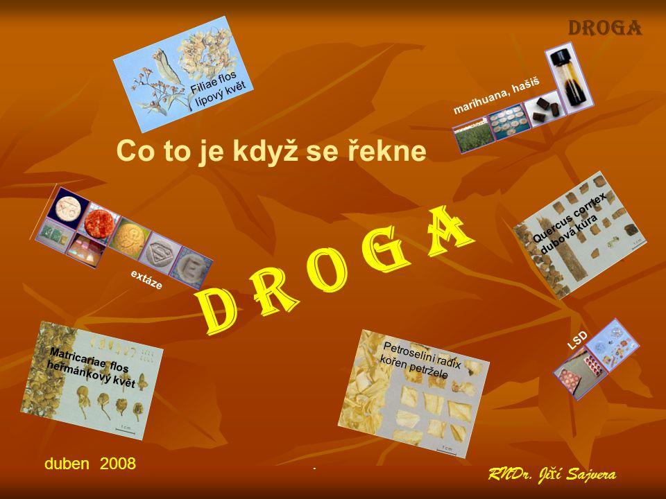 D R O G A Co to je když se řekne DROGA RNDr. Jiří Sajvera duben 2008 .