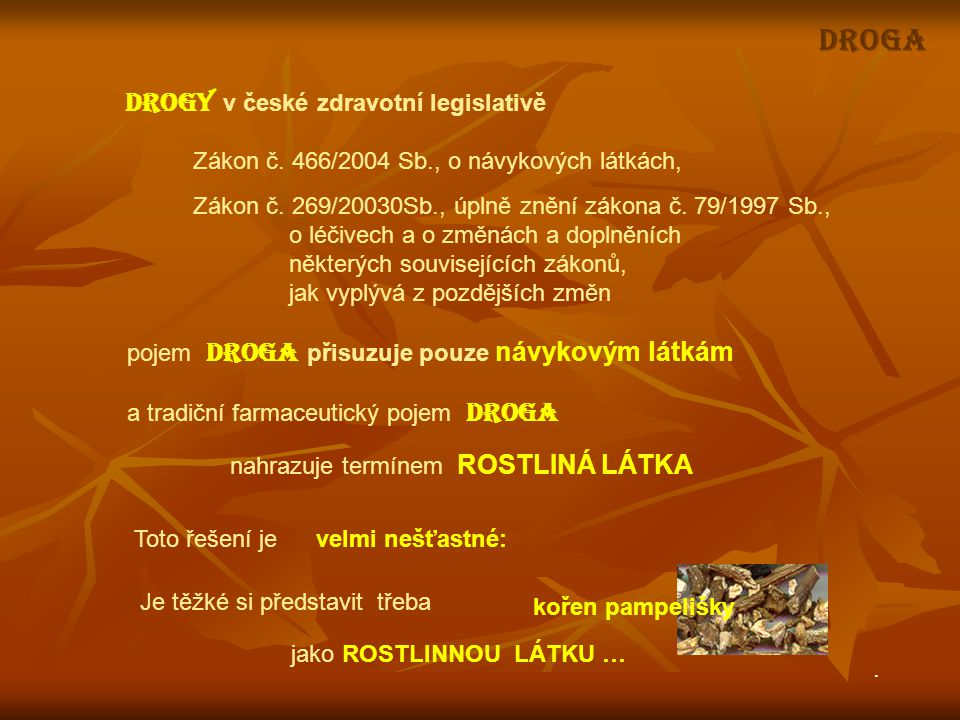DROGA DROGY v české zdravotní legislativě
