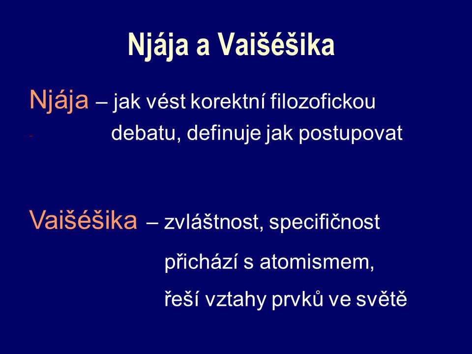 Njája a Vaišéšika Njája – jak vést korektní filozofickou