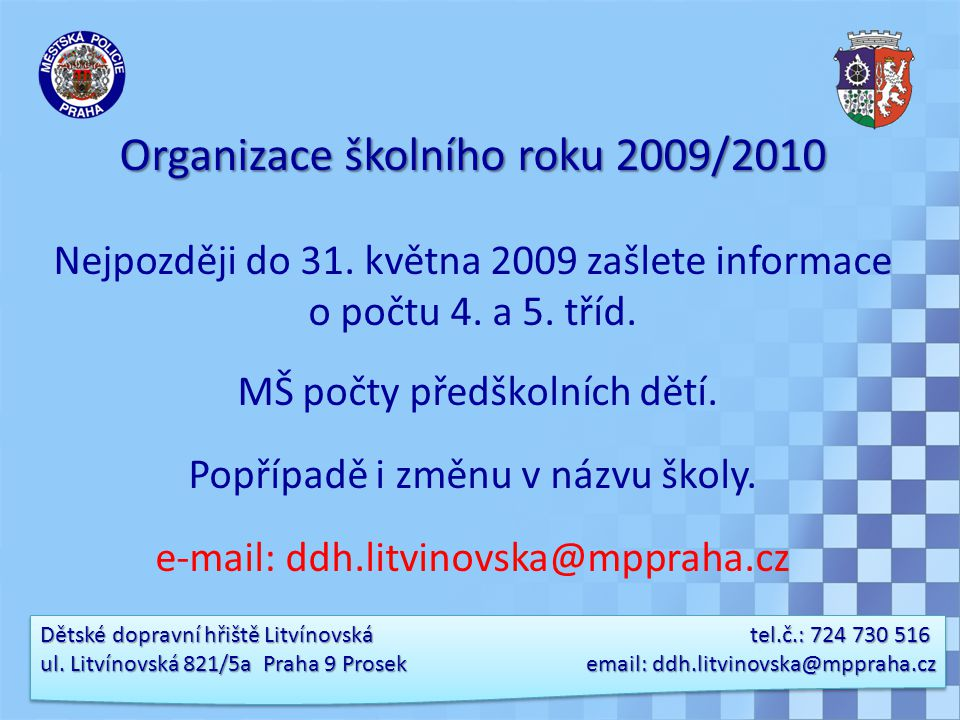 Organizace školního roku 2009/2010