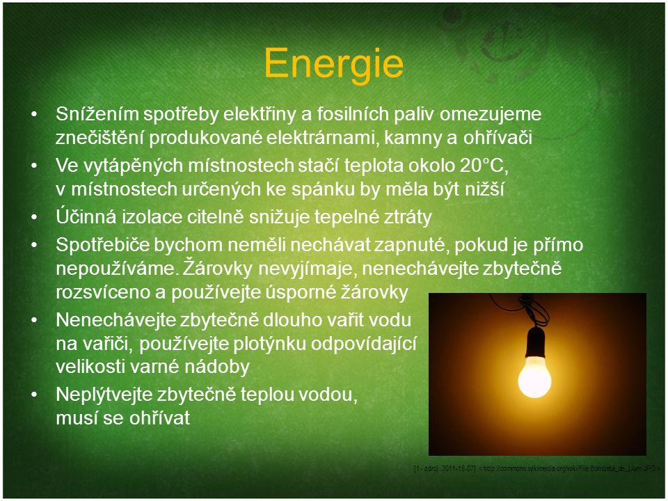 Energie Snížením spotřeby elektřiny a fosilních paliv omezujeme znečištění produkované elektrárnami, kamny a ohřívači.