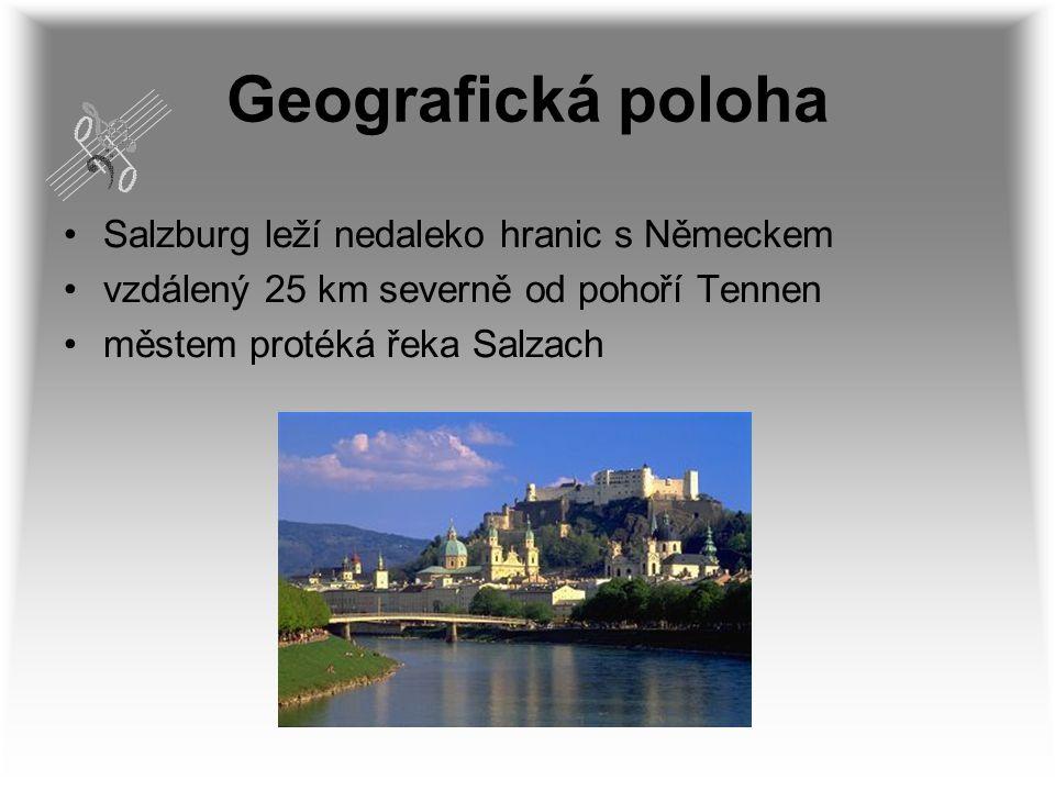Geografická poloha Salzburg leží nedaleko hranic s Německem