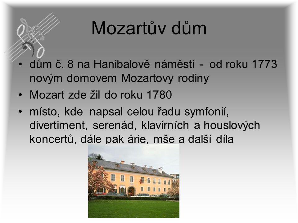 Mozartův dům dům č. 8 na Hanibalově náměstí - od roku 1773 novým domovem Mozartovy rodiny. Mozart zde žil do roku 1780.