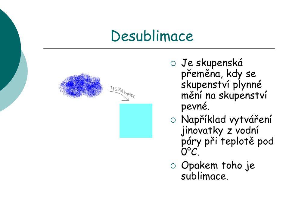 Desublimace Je skupenská přeměna, kdy se skupenství plynné mění na skupenství pevné. Například vytváření jinovatky z vodní páry při teplotě pod 0°C.