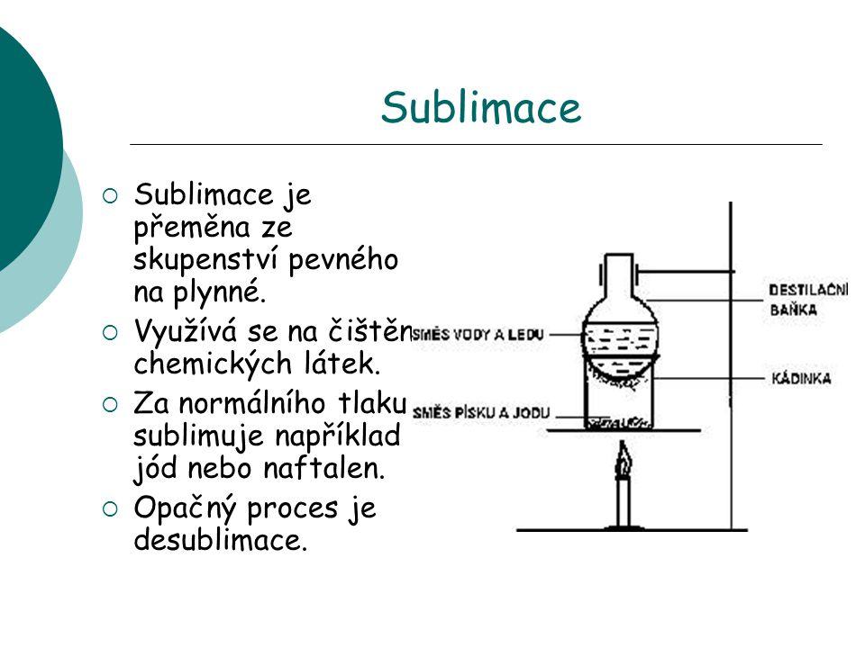 Sublimace Sublimace je přeměna ze skupenství pevného na plynné.