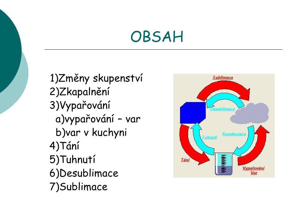 OBSAH 1)Změny skupenství 2)Zkapalnění 3)Vypařování a)vypařování – var