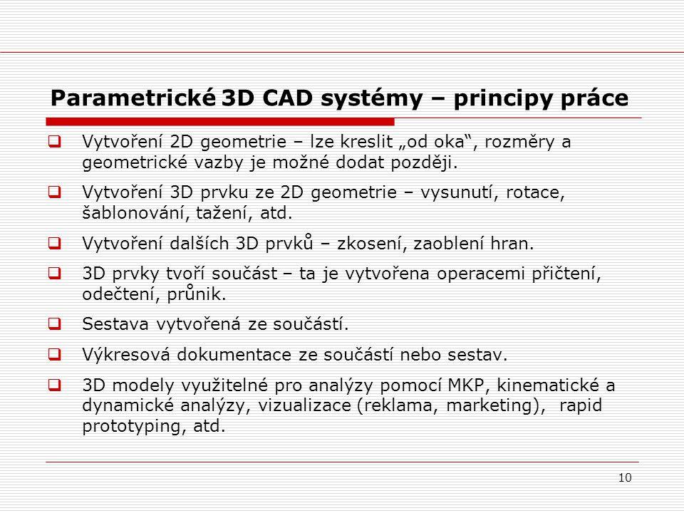 Parametrické 3D CAD systémy – principy práce
