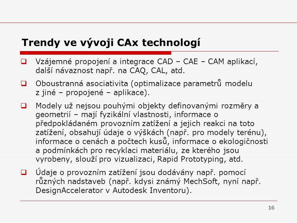Trendy ve vývoji CAx technologí