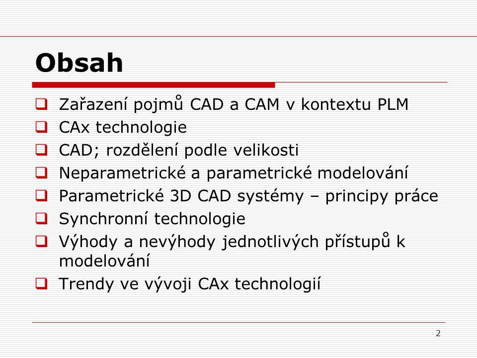 Obsah Zařazení pojmů CAD a CAM v kontextu PLM CAx technologie