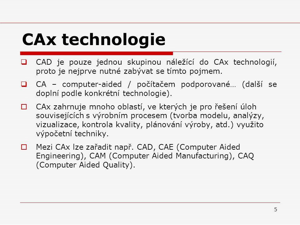 CAx technologie CAD je pouze jednou skupinou náležící do CAx technologií, proto je nejprve nutné zabývat se tímto pojmem.