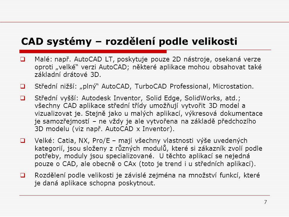 CAD systémy – rozdělení podle velikosti