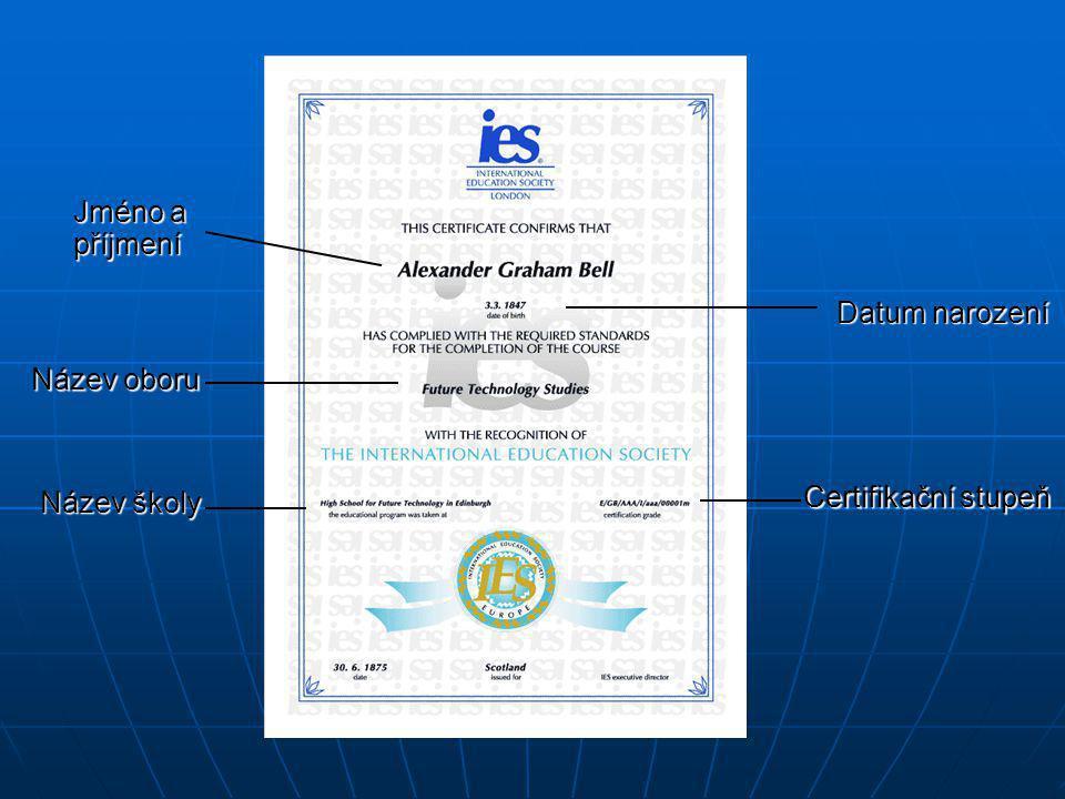 Jméno a příjmení Datum narození Název oboru Název školy Certifikační stupeň