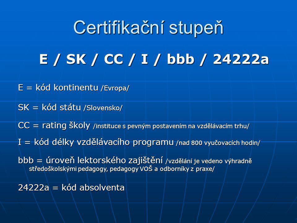 Certifikační stupeň E / SK / CC / I / bbb / 24222a