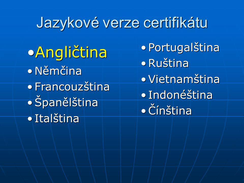 Jazykové verze certifikátu
