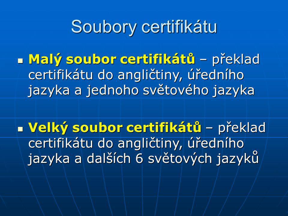 Soubory certifikátu Malý soubor certifikátů – překlad certifikátu do angličtiny, úředního jazyka a jednoho světového jazyka.