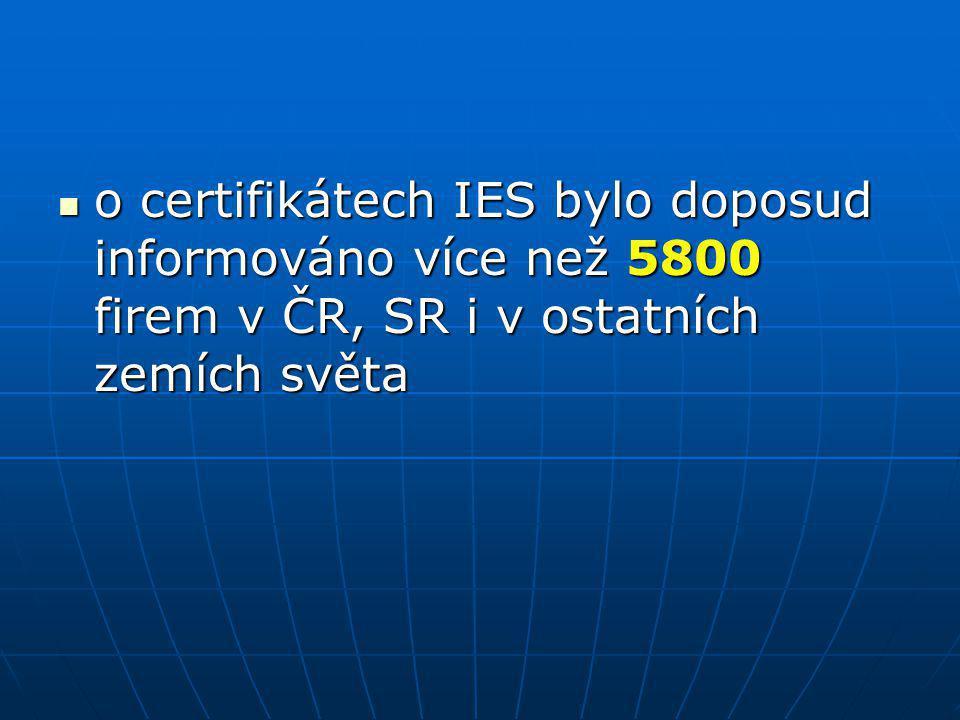 o certifikátech IES bylo doposud informováno více než 5800 firem v ČR, SR i v ostatních zemích světa