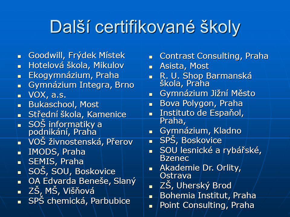 Další certifikované školy