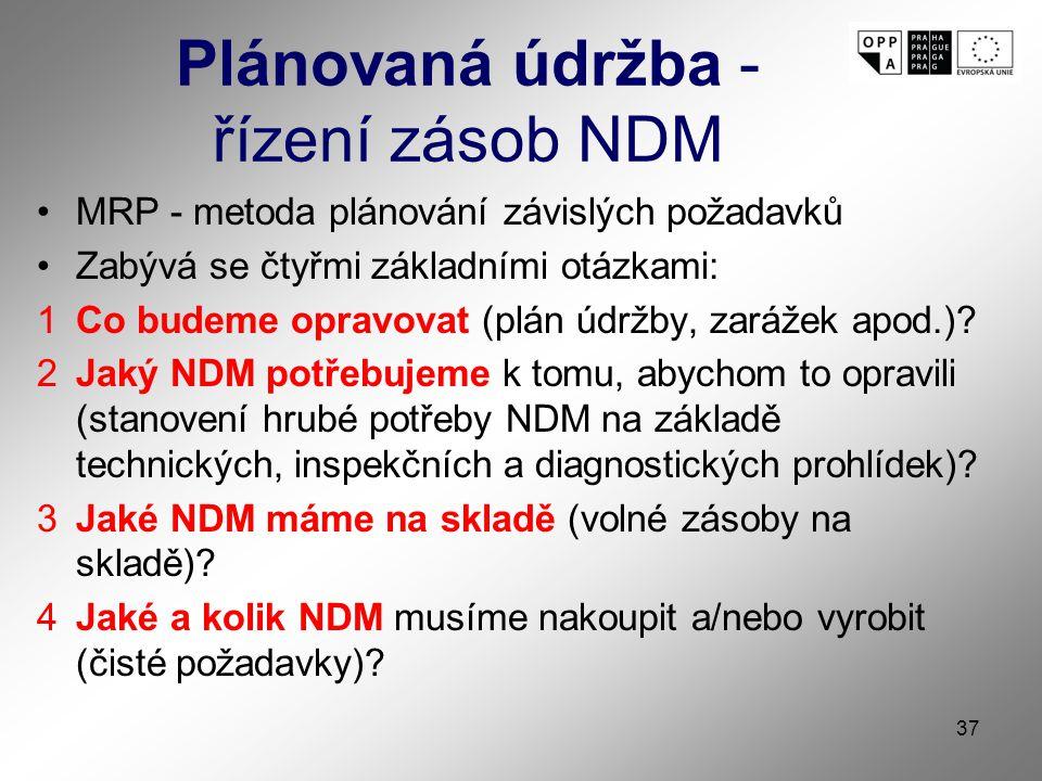 Plánovaná údržba - řízení zásob NDM