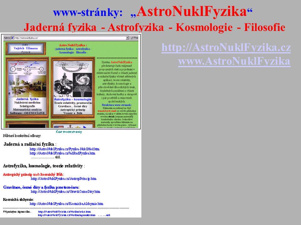 """www-stránky: """"AstroNuklFyzika"""