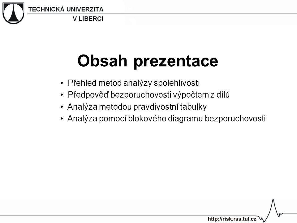 Obsah prezentace Přehled metod analýzy spolehlivosti